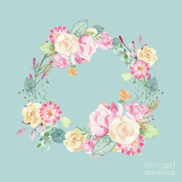 Digital Art - Spring Bouquet Wreath Duck Egg Blue Floral Print  by Sharon Mau