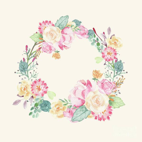 Wall Art - Digital Art - Spring Bouquet Wreath Seashell Floral Print  by Sharon Mau