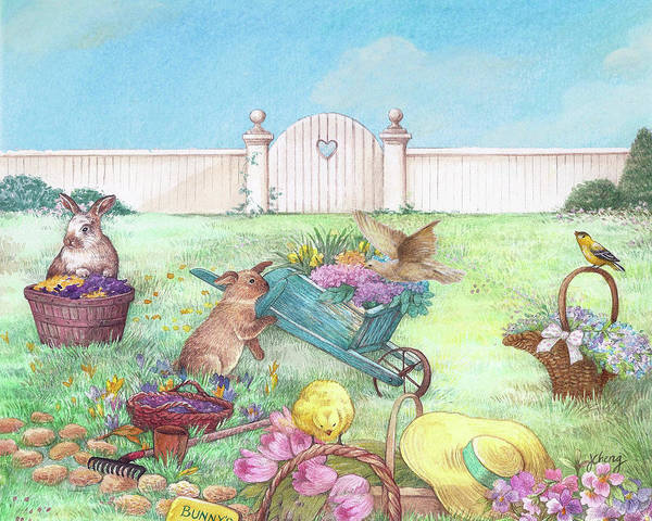 Painting - Spring Bunnies, Chick, Birds by Judith Cheng