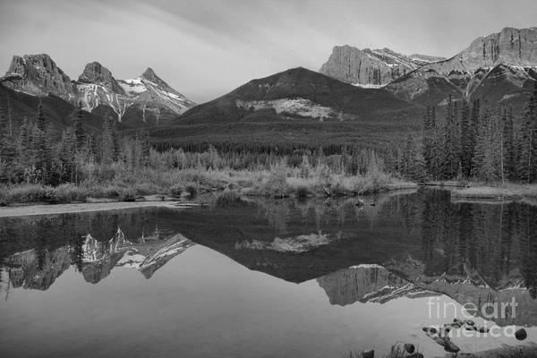 Photograph - Spring Canmore Mountain Reflections Black And White by Adam Jewell