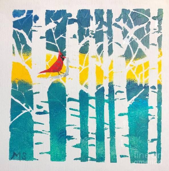 Mixed Media - Spring Cardinal With Birch Trees by Monika Shepherdson