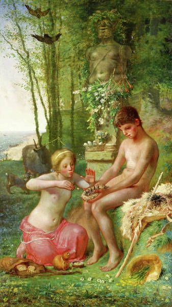 Wall Art - Painting - Spring, Daphnis And Chloe - Digital Remastered Edition by Jean-Francois Millet