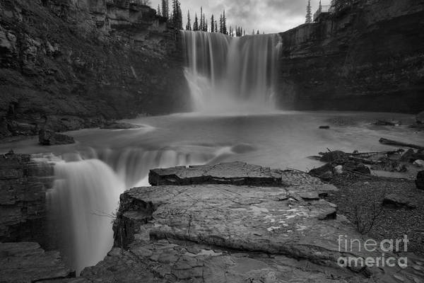 Photograph - Spring Evening At Crescent Falls Black And White by Adam Jewell