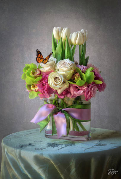 Photograph - Spring Flower Arrangement by Endre Balogh