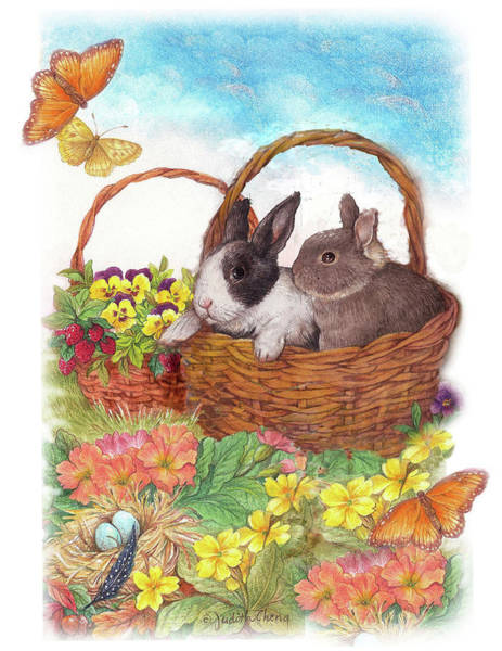 Painting - Spring Garden With Bunnies, Butterfly by Judith Cheng
