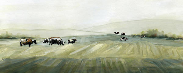 Rolling Hills Painting - Spring Grazing Pasture by Carol Robinson