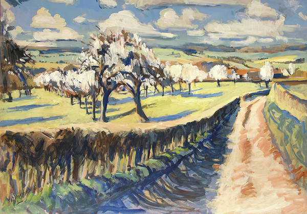Wall Art - Painting - Spring In The Bellet Fruit Orchard by Nop Briex