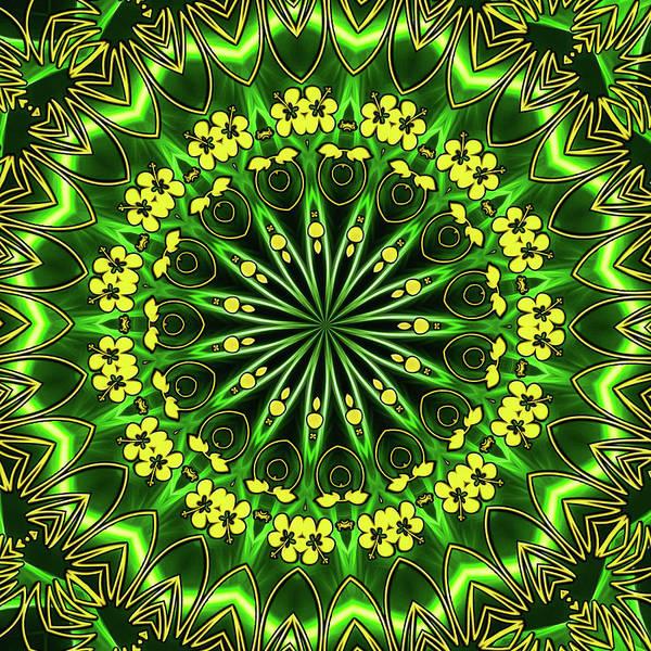 Wall Art - Digital Art - Spring Mandala Green And Yellow by Matthias Hauser