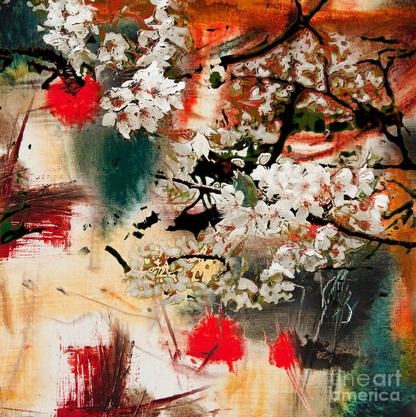 Wall Art - Digital Art - Spring Motif, Abstract Background Oil by Kvocek