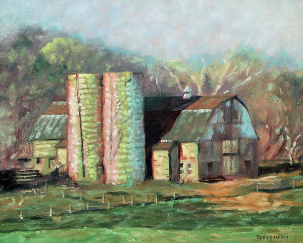 Silo Painting - Spring On The Farm - Old Barn With Two Silos by Bonnie Mason