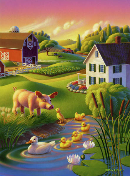 Wall Art - Painting - Spring Pig by Robin Moline