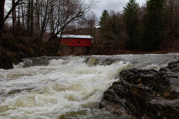 Photograph - Spring Runoff Below Vermont Covered Bridge by Jeff Folger