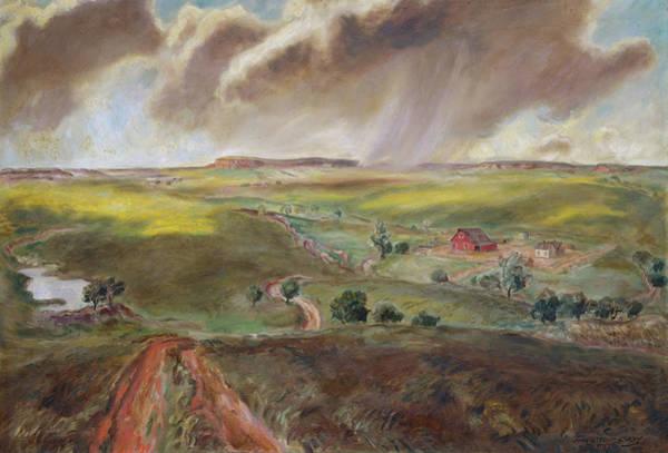 Wall Art - Painting - Spring Shower - Western Kansas by John Steuart Curry