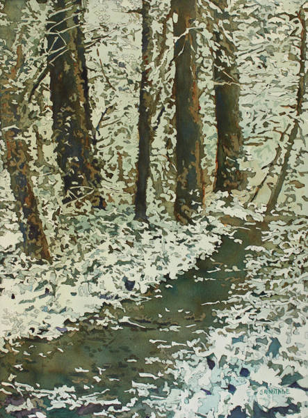 Painting - Spring Snow On Croisan Scenic by Jenny Armitage