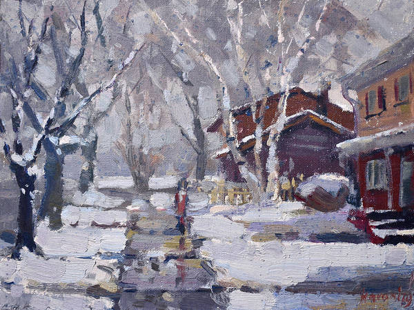 Wall Art - Painting - Spring Snow  by Ylli Haruni