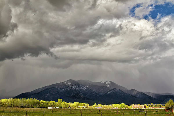 Photograph - Spring Snowstorm Over Taos Mountain by Robert Woodward