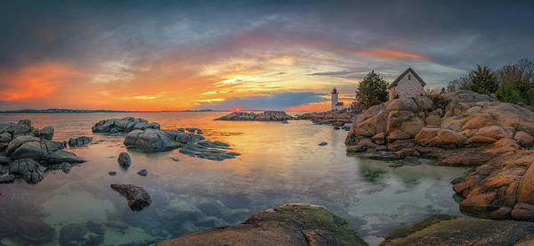 Photograph - Spring Sunset Panorama At Annisquam Lighthouse by Kristen Wilkinson