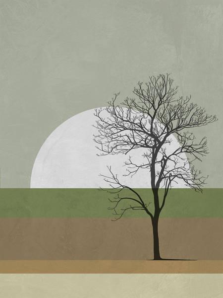 Earth Day Wall Art - Mixed Media - Spring Sunset Tree by Naxart Studio