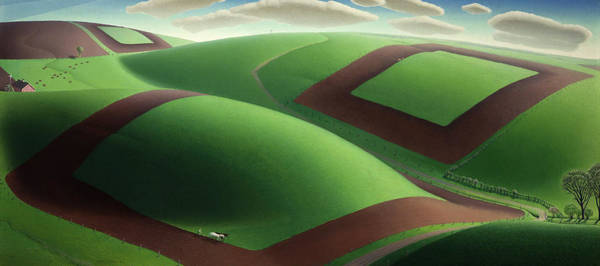 Plowing Painting - Spring Turning, 1936 by Grant Wood