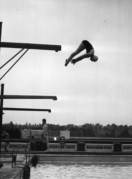 Diving Board Photograph - Springboard Dives by Picture Post