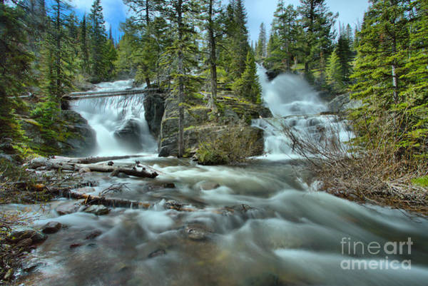 Photograph - Springtime At Glacier Twin Falls by Adam Jewell