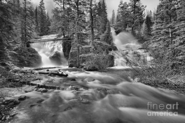 Photograph - Springtime At Glacier Twin Falls Black And White by Adam Jewell