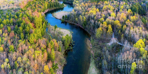 Manistee Photograph - Springtime On The Manistee River Aerial by Twenty Two North Photography