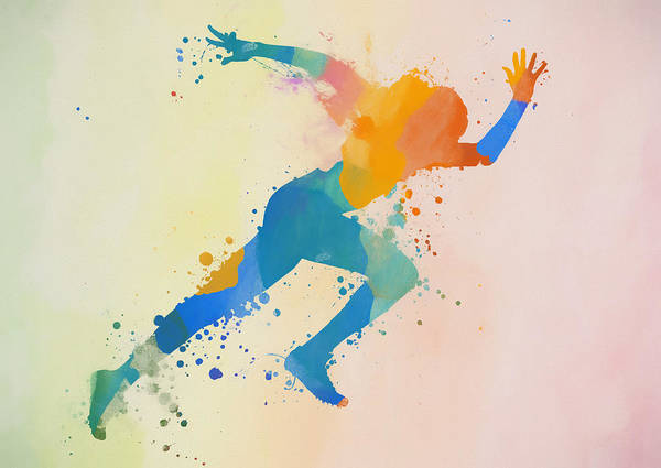 Wall Art - Painting - Sprinting Woman Paint Splatter by Dan Sproul