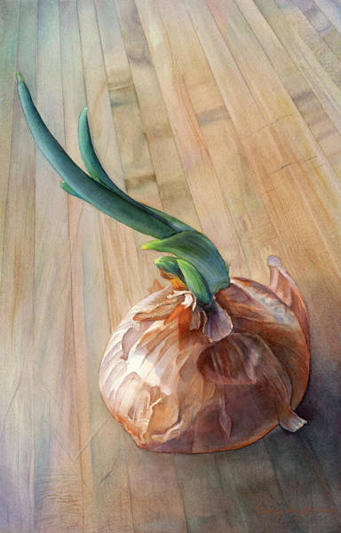 Color Block Painting - Sprouting Onion by Sandy Haight