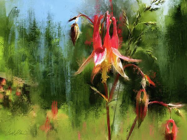 Wall Art - Digital Art - Spruce Forest Columbine Flower by Garth Glazier