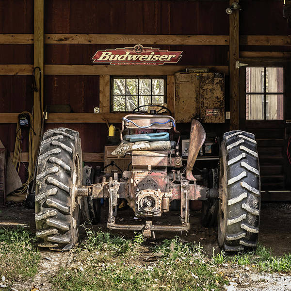 Photograph - Square Format Old Tractor In The Barn Vermont by Edward Fielding