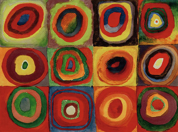 Visual Illusion Wall Art - Painting - Squares With Concentric Circles 1913  by Wassily Kandinsky