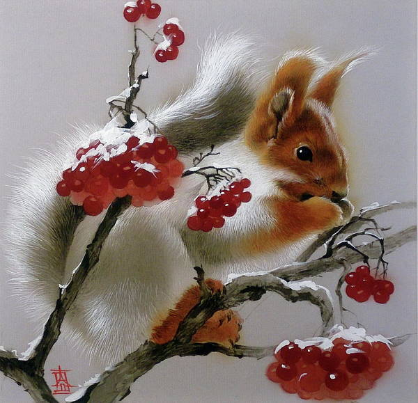 Painting - Squirrel With Rowan Berries by Alina Oseeva