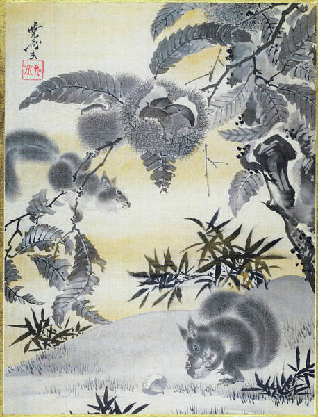 Wall Art - Painting - Squirrels Gathering Chestnuts - Digital Remastered Edition by Kawanabe Kyosai