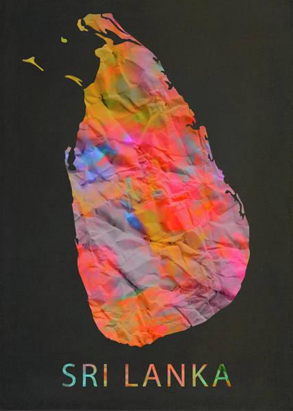 Wall Art - Mixed Media - Sri Lanka Tie Dye Country Map by Design Turnpike