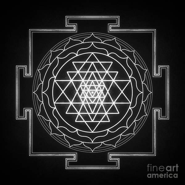 Wall Art - Digital Art - Sri Yantra Xi - Black White Le by Dirk Czarnota