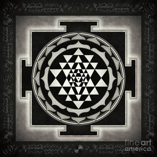 Wall Art - Digital Art - Sri Yantra Xvii - Moon White by Dirk Czarnota