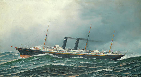 Wall Art - Painting - Ss Philadelphia Of The American Line by Antonio Nicolo Gasparo Jacobsen