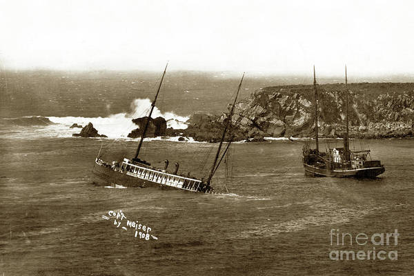 Photograph - S. S. Pomona In Fort Ross Cove.  March 17, 1908 by California Views Archives Mr Pat Hathaway Archives