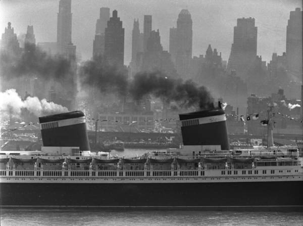 Harbor Photograph - S.s. United States Sailing In New York by Andreas Feininger