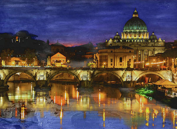 Wall Art - Painting - St. Angelo Bridge In Rome,italy   by Rani S Manik