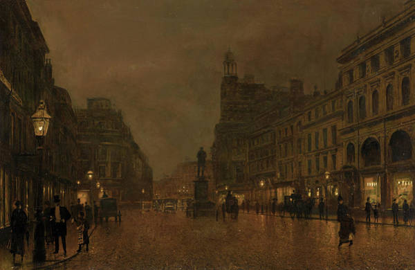 Moon Shadow Painting - St Anne's Square And Exchange Manchester by John Atkinson Grimshaw