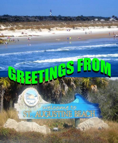 Saint Augustine Beach Wall Art - Photograph - St. Augustine Beach Fl Custom Card by David Lee Thompson