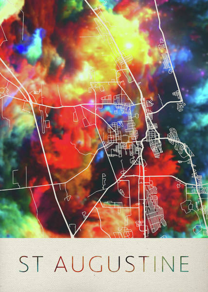 St Mixed Media - St Augustine Florida Watercolor City Street Map by Design Turnpike