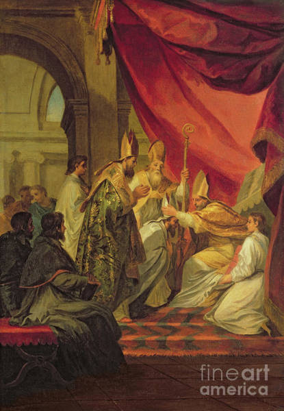 Wall Art - Painting - St Augustine Ordained As The Bishop Of Hippo by Louis de Boulogne the Younger