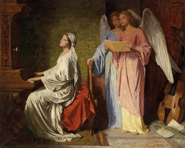 Wall Art - Painting - St Cecilia Playing Accompanied By Angels, 1886 by Simon Glucklich