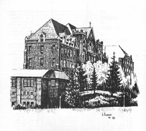 Drawing - St Charles Hall Carroll College Helena Montana by Kevin Heaney