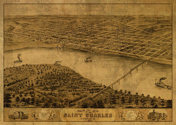 St Mixed Media - St Charles Missouri Vintage City Street Map 1869 by Design Turnpike