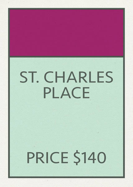 Wall Art - Mixed Media - St Charles Place Vintage Retro Monopoly Board Game Card by Design Turnpike