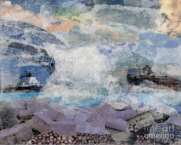 Ontario Mixed Media - St. Clair River Fog Collage by Raquel Bright